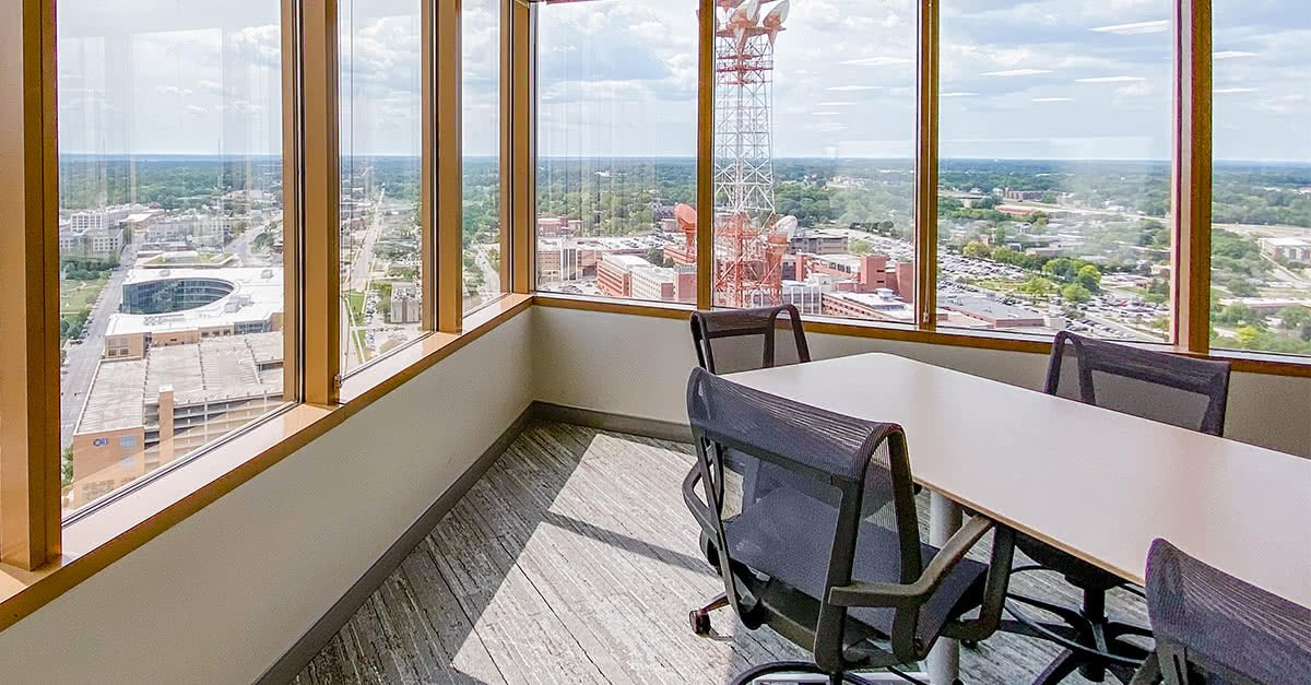 Photo of F&G's office and the view of Des Moines out the windows.